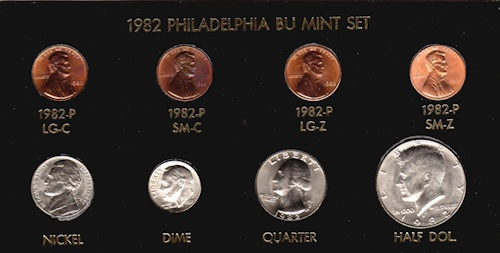 1982-P//D 7coins Small//Large Date Copper//Zinc Lincoln Cent Collection Choice BU